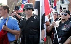 """Hundreds of white nationalists, neo-Nazis and members of the """"alt-right"""" march down East Market Street toward Lee Park during the """"Unite the Right"""" rally in Charlottesville, Virginia, August 12, 2017. (Chip Somodevilla/Getty Images/AFP)"""