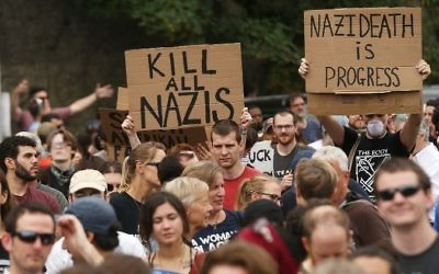 Thousands of protesters prepare to march in Boston against a planned 'Free Speech Rally' just one week after the violent 'Unite the Right' rally in Virginia left one woman dead and dozens more injured on August 19, 2017 in Boston, United States.   (Spencer Platt/Getty Images/AFP)