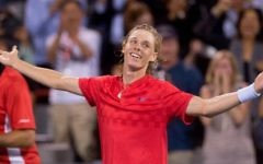 Denis Shapovalov, of Canada, salutes the crowd after defeating Rafael Nadal, of Spain, 3-6, 6-4, 7-6 (4) at the Rogers Cup tennis tournament Thursday, Aug. 10, 2017, in Montreal. (Paul Chiasson/The Canadian Press via AP)