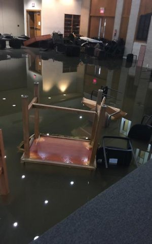 A photo of the flooding from Tropical Storm Harvey that devastated United Orthodox Synagogues in Houston. (Courtesy/UOS)