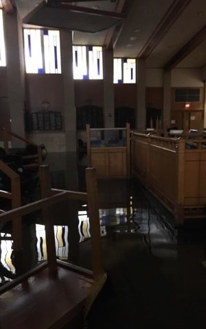Flooding from Tropical Storm Harvey ravaged United Orthodox Synagogues in Houston. (Courtesy UOS)