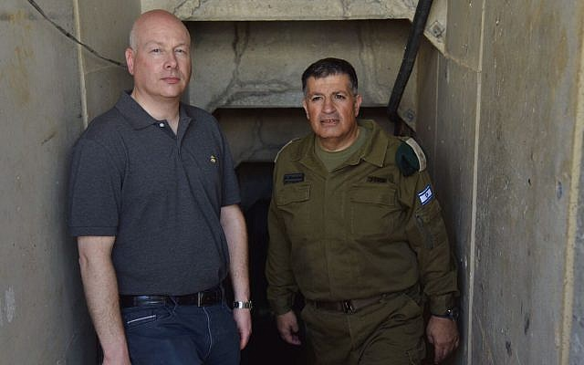 US President Donald Trump's peace envoy Jason Greenblatt (L) tours a Hamas terror tunnel near the Gaza Strip with Coordinator for Government Activities in the Territories Yoav 'Poly' Mordechai on August 30, 2017. (COGAT Spokesperson's Office)