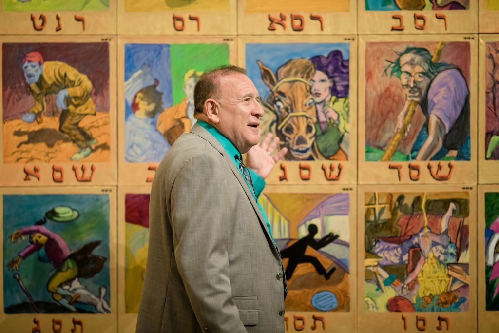 Archie Rand at the opening of his exhibit 'The 613' at the Contemporary Jewish Museum in San Francisco, July 19, 2017. (Gary Sexton Photography)