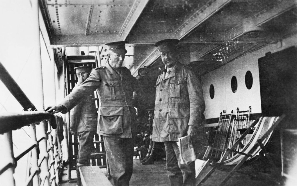 Lieutenant General (then Colonel) Sir John Monash and Lieutenant Colonel Granville John Burnage on board the HMAT Ulysses, taken on voyage to Egypt. (Courtesy Australian War Memorial)