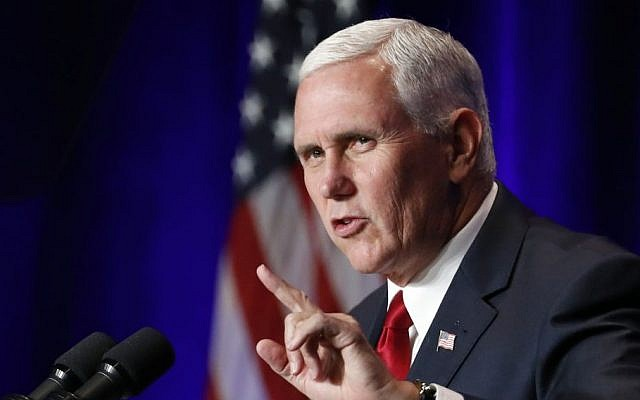 US Vice President Mike Pence speaks at the Young America's Foundation's 39th annual National Conservative Student Conference, August 4, 2017, in Washington, DC. (AP/Alex Brandon)