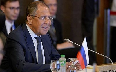 Russia's Foreign Affairs Minister Sergey Lavrov speaks during the ASEAN-Russia Ministerial meeting in the 50th ASEAN Regional Forum in suburban Pasay city southeast of Manila, Philippines Sunday, Aug. 6, 2017.  (Noel Celis/Pool Photo via AP)
