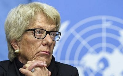 In this Wednesday, March 1, 2017 file photo, Carla del Ponte, Member of the Independent Commission of Inquiry on the Syrian Arab Republic, attends a press conference, at the European headquarters of the United Nations in Geneva, Switzerland. (Martial Trezzini/Keystone via AP)