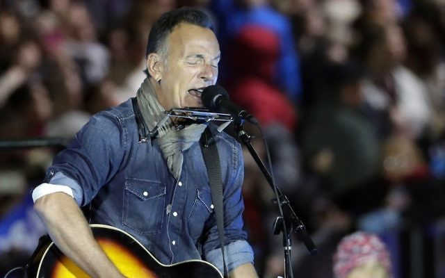 In this Nov. 7, 2016, photo Bruce Springsteen performs during a Hillary Clinton campaign event at Independence Mall in Philadelphia. (AP Photo/Matt Slocum)