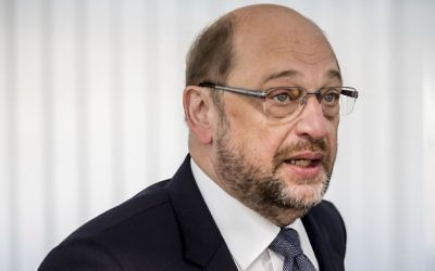 The SPD candidate for chancellor Martin Schulz arrives for a meeting in Berlin on August 14, 2017. (Michael Kappeler/dpa via AP)