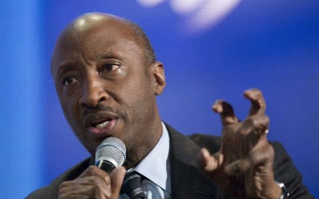 """Merck Chairman and CEO Kenneth Frazier participates in a session """"The Future of Impact,"""" at the Clinton Global Initiative in New York, September 27, 2015. (AP Photo/Mark Lennihan/File)"""