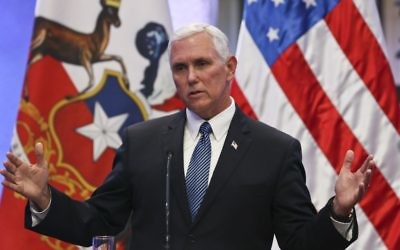 US Vice President Mike Pence speaking at the La Moneda government palace in Santiago, Chile, August 16, 2017. (AP Photo/Esteban Felix)