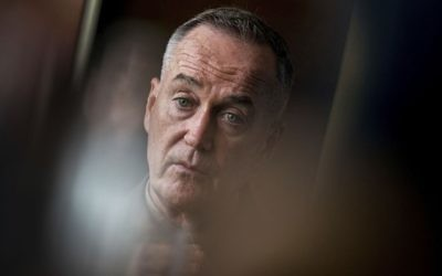 US Chairman of the Joint Chiefs of Staff Gen. Joseph Dunford speaks to reporters at the Westin Beijing Chaoyang Hotel in Beijing, August 17, 2017. (AP/Andrew Harnik)
