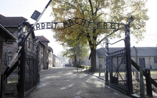 This photo from October 19, 2012, shows the gate of the former Nazi German death camp of Auschwitz in Oswiecim, Poland. (AP Photo/Czarek Sokolowski)