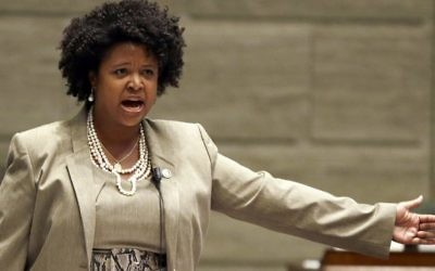 In this Sept. 10, 2014, file photo, Missouri state Sen. Maria Chappelle-Nadal speaks on the Senate floor in Jefferson City, Missouri (AP Photo/Jeff Roberson, File)