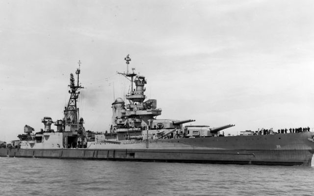 In this July 10, 1945, photo provided by U.S. Navy media content operations, USS Indianapolis (CA 35) is shown off the Mare Island Navy Yard, in Northern California, after her final overhaul and repair of combat damage. (US Navy via AP)