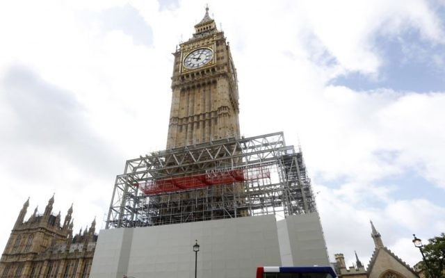 Scaffolding is erected around the Elizabeth Tower, which includes the landmark 'Big Ben' clock, as part of ongoing conservation efforts at the Palace of Westminster in London, August 3, 2017. (AP/Caroline Spiezio)
