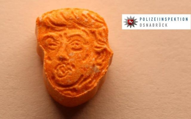 This undated picture provided by Polizeiinspektion Osnabrueck police shows an ecstasy pill. German police say they have seized thousands of ecstasy pills in the shape of President Donald Trump's head, a haul with an estimated street value of 39,000 euros ($45,900). (Police Osnabrueck via AP)