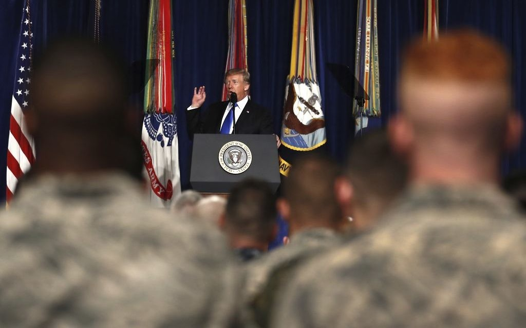 US President Donald Trump speaks at Fort Myer in Arlington Virginia,  August 21, 2017, during a Presidential Address to the Nation about a strategy he believes will best position the US to eventually declare victory in Afghanistan. (AP Photo/Carolyn Kaster)