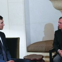 King Abdullah II, right, receives White House adviser, Jared Kushner, on August 22, 2017, in Amman, Jordan. (The Royal Hashemite Court Twitter via AP)