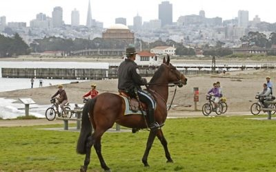 A US Parks policeman on horseback patrols Crissy Field in San Francisco on August 3, 2010. (AP/Ben Margot)