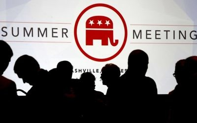 People talk before the start of the meeting of the standing committee on rules at the Republican National Committee summer meeting, Thursday, Aug. 24, 2017, in Nashville, Tennessee. (AP Photo/Mark Humphrey)