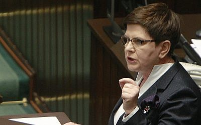 In this Friday, April 7, 2017 file photo, Poland's Prime Minister Beata Szydlo delivers a speech to parliament in Warsaw, Poland. (AP Photo/Czarek Sokolowski)