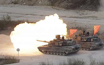 Illustrative: US Army M1-A2 tanks fire during US-South Korea joint military live-fire drills at Seungjin Fire Training Field in Pocheon, South Korea, near the border with North Korea, April 26, 2017. (AP/Ahn Young-joon)