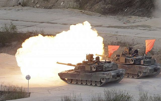 Illustrative: US Army's M1 A2 tanks fire during US-South Korea joint military live-fire drills at Seungjin Fire Training Field in Pocheon, South Korea, near the border with North Korea, April 26, 2017. (AP/Ahn Young-joon)