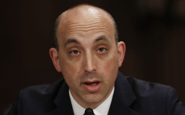 Jonathan Greenblatt, CEO And National Director of the Anti-Defamation League, left, testifies on Capitol Hill in Washington, Tuesday, May 2, 2017, before a Senate Judiciary Committee hearing on responses to the increase in religious hate crimes. (AP Photo/Carolyn Kaster)