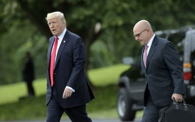 US President Donald Trump walks with National Security Adviser H.R. McMaster to Marine One on the South Lawn of the White House, June 16, 2017. (AP Photo/Susan Walsh)