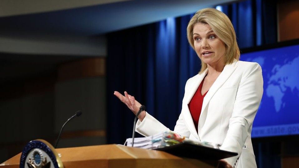 State Department spokeswoman Heather Nauert speaks during a briefing at the State Department in Washington Wednesday