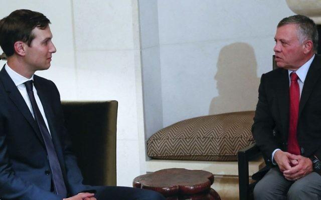 King Abdullah II, right, receives White House adviser, Jared Kushner, Tuesday, Aug. 22, 2017, in Amman, Jordan. (The Royal Hashemite Court Twitter via AP)