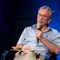 Israeli author Amos Oz at Beit Avi Chai in Jerusalem. (Courtesy)