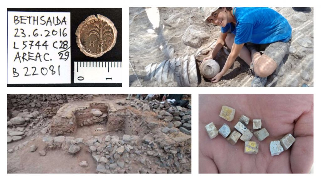 Dueling Bethsaida excavations: (clockwise from top left) Bronze coin from e-Tell, team member at el-Araj, mosaics found at el-Araj, city gate at e-Tell excavation site. (courtesy)