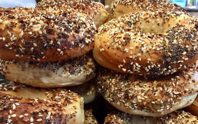 A sample of the offerings at Meshuggah Bagels in Kansas City. (Victor Wishna/JTA)
