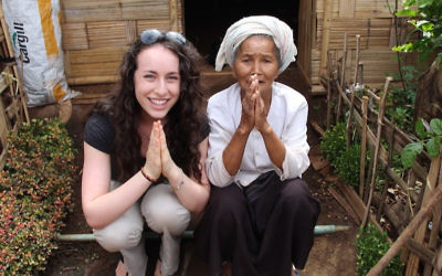 Sydney Kamen with a village leader in rural Burma in an unofficial refugee camp that is one of SOAP's partner communities. (Courtesy of Kamen/via JTA)