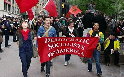 Illustrative: Members of the Democratic Socialists of America marching at the Occupy Wall Street protest in New York, September 2011. (CC BY David Shankbone, Wikimedia Commons /File)