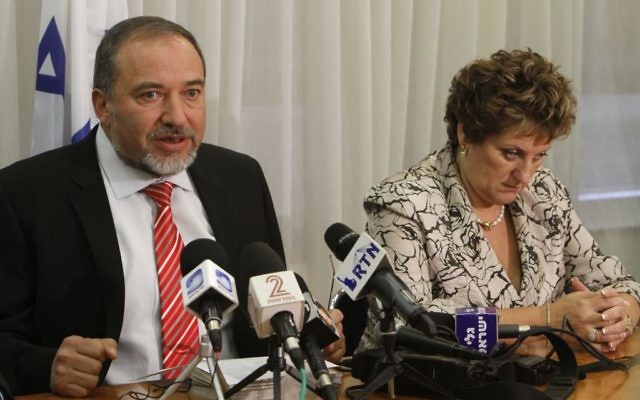 Yisrael Beytenu Avigdor Lieberman holds a press conference together with fellow Faina Kirschenbaum, July 20, 2011. (Miriam Alster/Flash90)