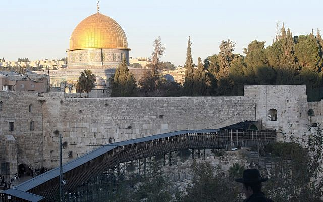 A wooden footbridge leads up from the Western Wall to the Mughrabi Gate of the Temple Mount in Jerusalem's Old City November 28, 2011. (Kobi Gideon/Flash90).