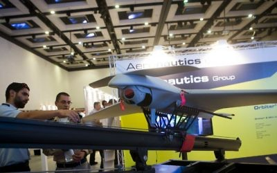 Illustrative. An ORBITER 3 small tactical UAS (Unmanned Aerial System) model on display at the UVID 2014 Conference, at Airport City, Israel, on September 17, 2014. (Miriam Alster/Flash90/File)