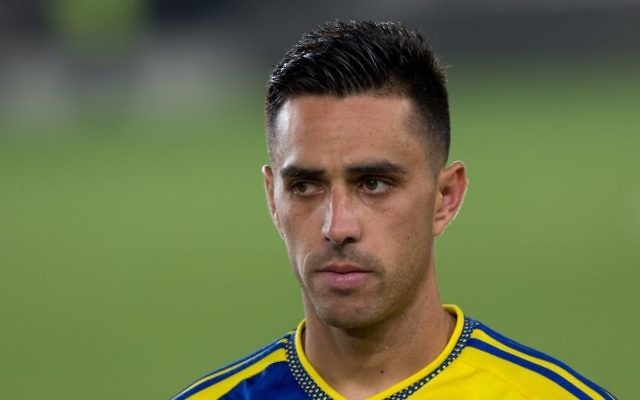 Maccabi Tel Aviv soccer player Eran Zahavi seen at the final of the State Cup between Maccabi Tel Aviv and Maccabi Haifa in Teddy Stadium, Jerusalem, on May 24, 2016. (Yonatan Sindel/Flash90)