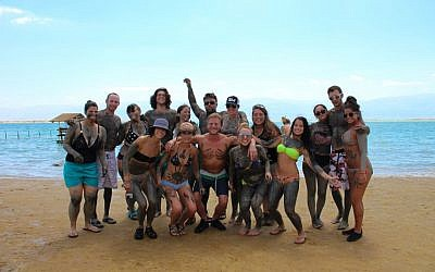 A group of American birthright tourists visits the dead sea on July 10, 2015. (Matt Hechter/Flash90)