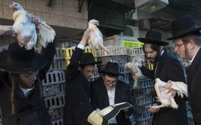 Ultra Orthodox Jews perform the Kaparot ceremony on October 10, 2016, in the ultra-orthodox neighborhood of Mea Shearim in Jerusalem. (Nati Shohat/Flash90)