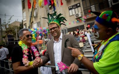 Likud MK Oren Hazan attends the Holon Purim parade on March 12, 2017 (Miriam Alster/ Flash90)