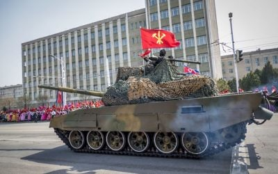 The North Korean Military Parade Pyongyang on April 15, 2017. (Moshe Shai/Flash90)