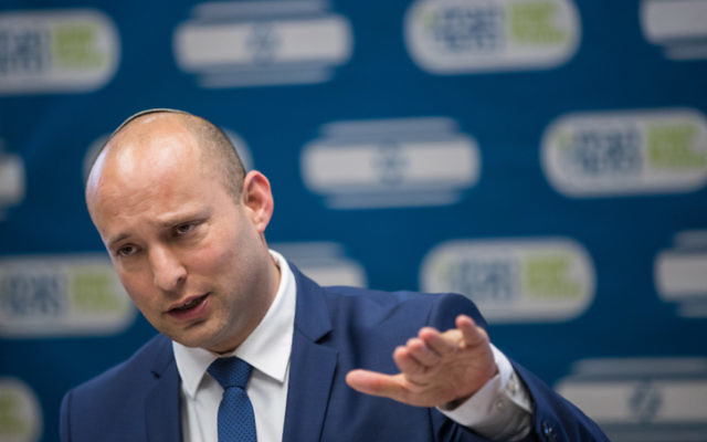 Education Minister Jewish Home party leader, Naftali Bennett, leads the faction meeting at the Knesset on June 19, 2017. (Yonatan Sindel/Flash90)