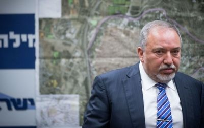 Defense Minister Avigdor Liberman leads a faction meeting of his Yisrael Beytenu party at the Knesset on July 10, 2017. (Yonatan Sindel/Flash90)