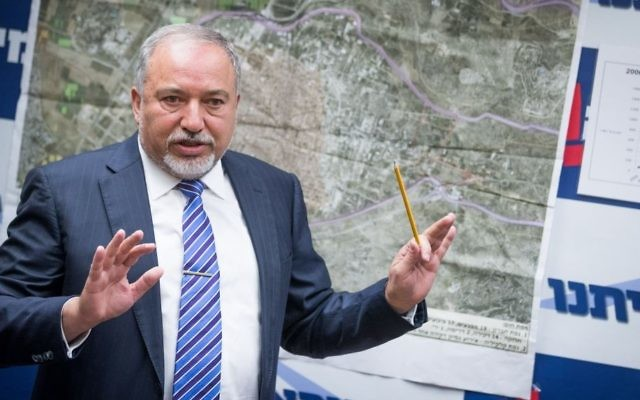 Yisrael Beytenu leader and Defense Minister Avigdor Liberman leads a faction meeting at the Knesset on July 10, 2017. (Yonatan Sindel/Flash90)