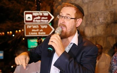 Likud MK Yehuda Glick speaks during an event at Jerusalem's Old City, calling Jews to be allowed to pray on the Temple Mount, July 31, 2017. (Gershon Elinson/Flash90)