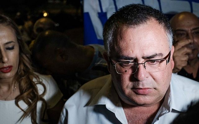 Likud MK David Bitan attends a protest in support of Prime Minister Benjamin Netanyahu near the weekly demonstration by Attorney General Avichai Mandelblit's home in Petah Tikva on August 5, 2017. (Tomer Neuberg/Flash90)